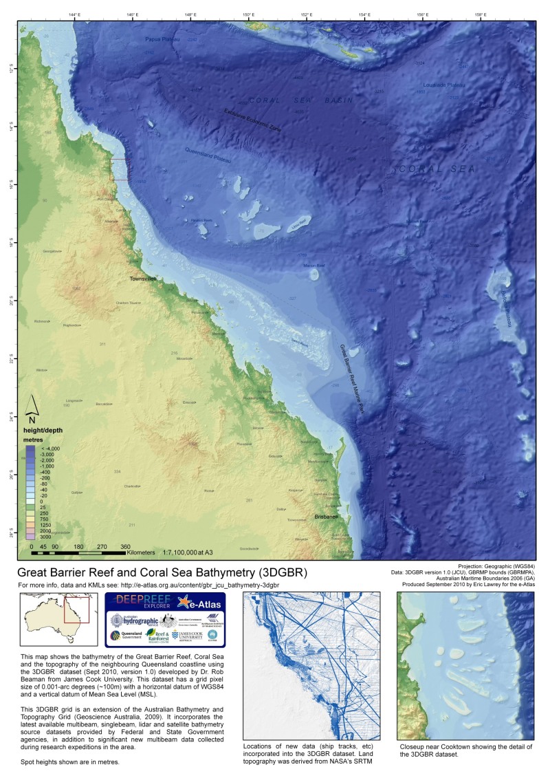 Project 3DGBR gbr100 Highresolution Bathymetry for the Great
