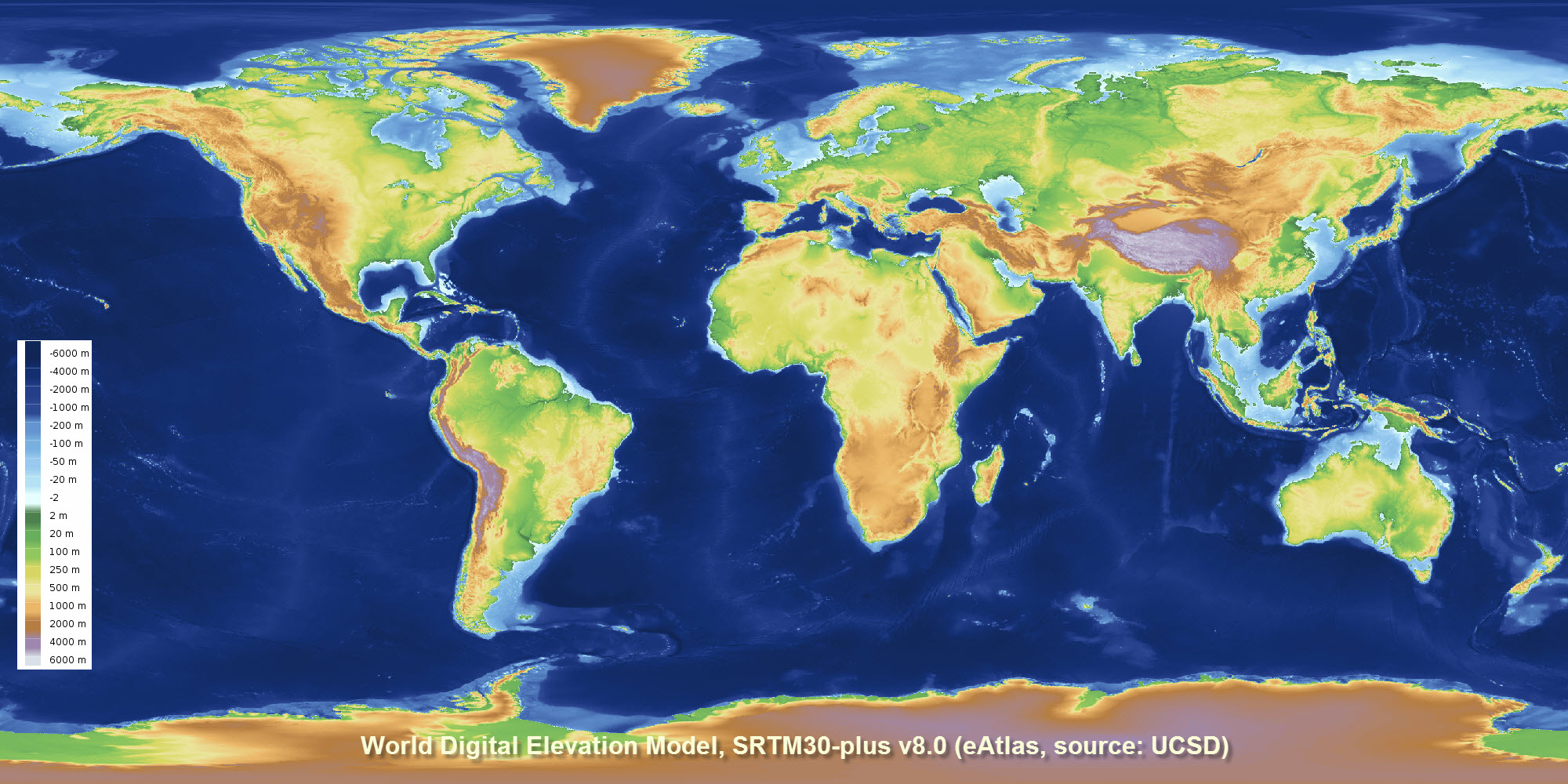 Global Bathymetry And Elevation Digital Elevation Model - World elevation map