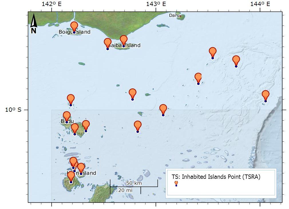 Torres Strait Islands Map on Torres Strait Islands