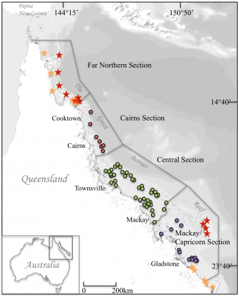 Map showing the sample locations of symbiodinium clade collections on the Great Barrier Reef
