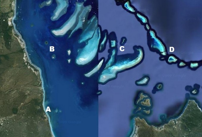 Aerial photograph of northern GBR showing coastal fringing reefs, inner-shelf fringing reefs around islands, mid-shelf reefs and outer-shelf (ribbon) reefs