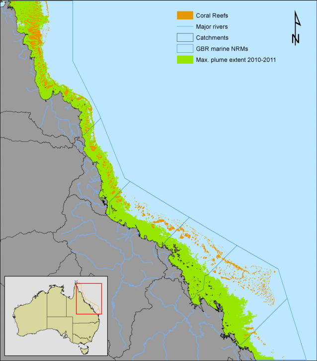 Map of the maximum extend of the flood plume over the 2010-2011 west season along the Queensland coast