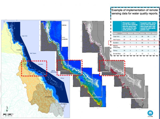 Three maps, first showing water bodies extending out from the queensland coast, second showing chlorophyll levels and third showing areas exceeding the guideline thresholds
