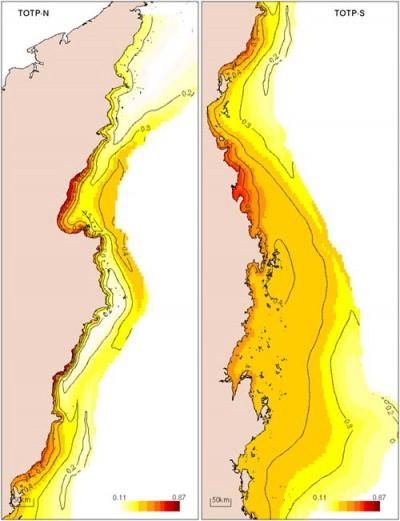 Distribution of total phosphorus
