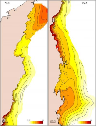 Distribution of particulate nitrogen