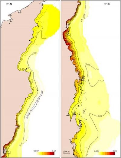 Distribution of particulate phosphorus