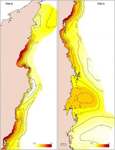 Distribution of total dissolved nitrogen