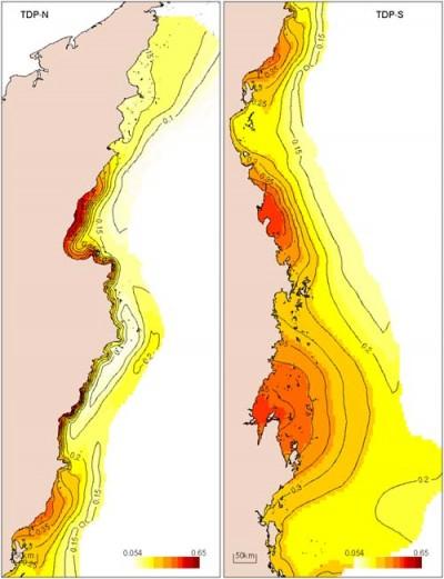 Distribution of total dissolved phosphorus