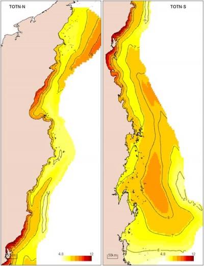 Distribution of total nitrogen