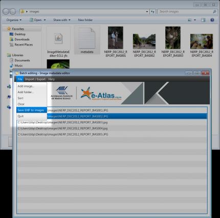 Saving images metadata from the Image Metadata Editor