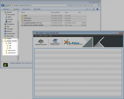 Loading a complex folder structure in the Image Metadata Editor