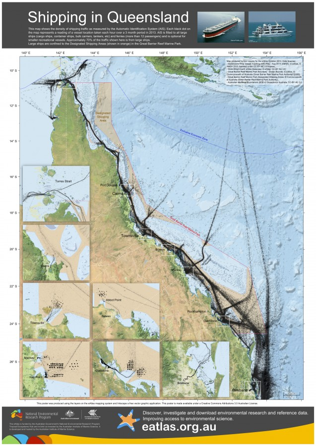 Map of shipping in Queensland