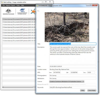 Screenshot of eAtlas Image metadata editor