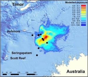 Modelled oil spill exposure map