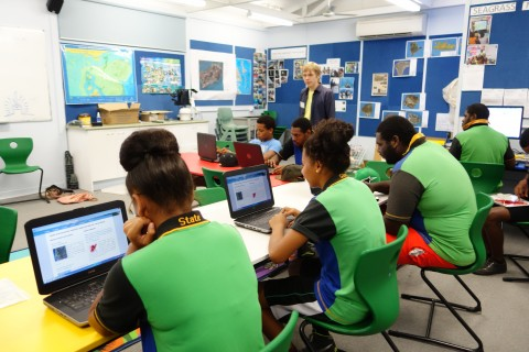 Tagai State College students using the Torres Strait eAtlas