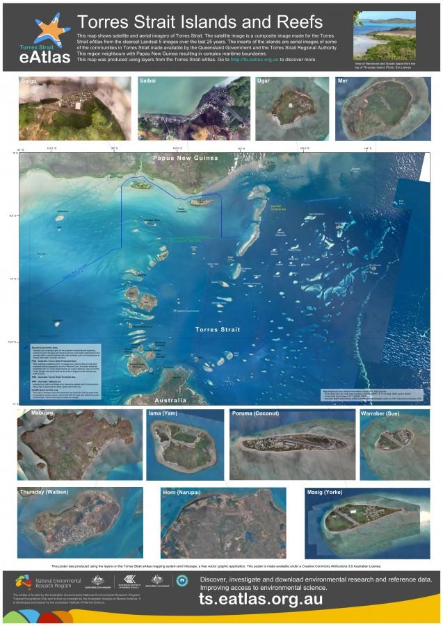 Torres Strait Islands and Reefs Map (Poster) | eAtlas