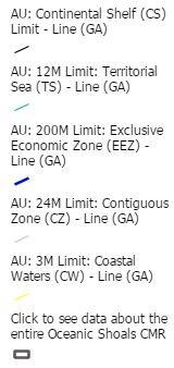 Australian maritime boundaries legend