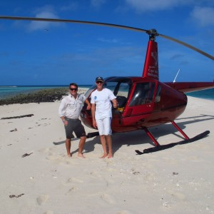 Woiz Reef - Helicopter, Ray Berkelmans and Pilot
