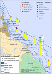 Map of pesticide and herbicide sampling sites on the Queensland coastline. Also shows the Herbicide levels for 2011.