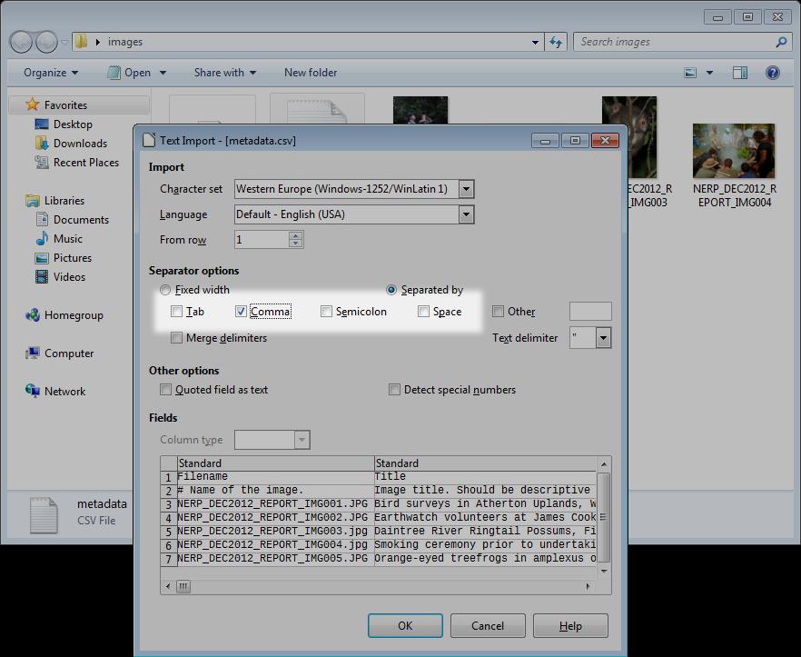 Loading a CSV file in LibreOffice | eAtlas