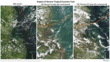 Satellite images (NASA MODIS) of Mission beach to Cardwell before and after cyclone Yasi