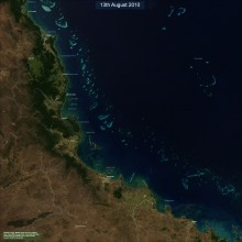 North Queensland Coast and Great Barrier reef from MODIS satellite imagery (13th August 2010) seen on a clear day.