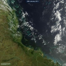 Satellite image of North Queensland (on 28th February 2010) 5 days prior to cyclone yasi