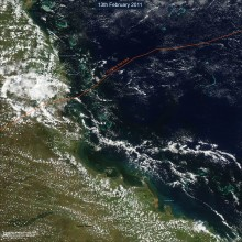 North Queenland coast from MODIS satellite images 10 days after cyclone Yasi made landfall
