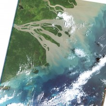 Flood Plume from Fly River (Landsat 5)