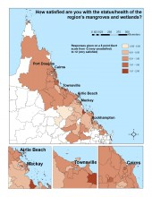 How satisfied are you with the status/health of the region's mangroves and wetlands?