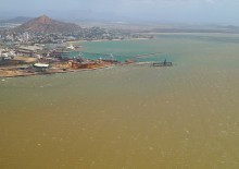 Aerial image of the Port of Townsville and Cleveland Bay during a natural resuspension event