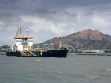 Trailing Suction Hopper Dredge  Brisbane at the entrance to the Port of Townsville