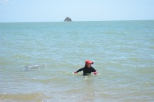 Sampling for Irukandji using an Irukandji sampling net at Palm Cove. Regular sampling is undertaken over the North Queensland summer.